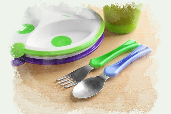 Use child-sized, unbreakable utensils