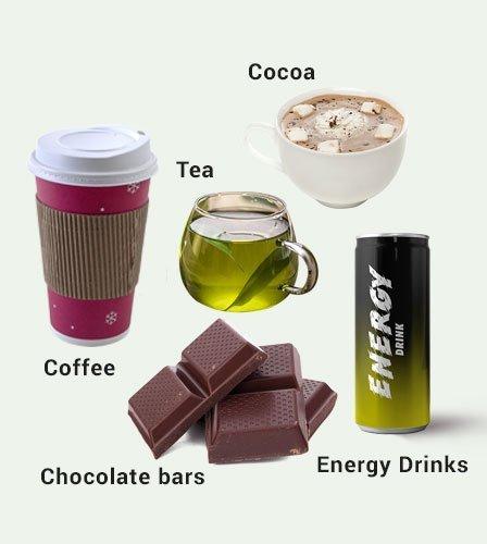 Cocoa, coffee, tea, and chocolate bars contain caffeine