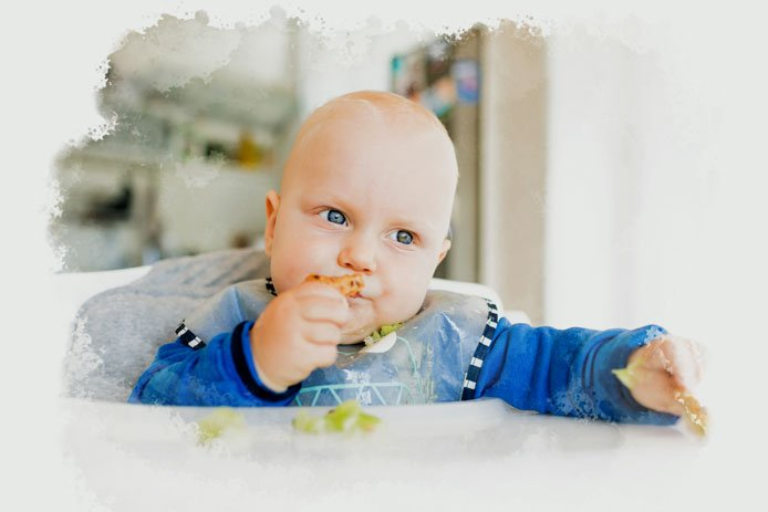 Let your baby touch the food in the dish or spoon.
