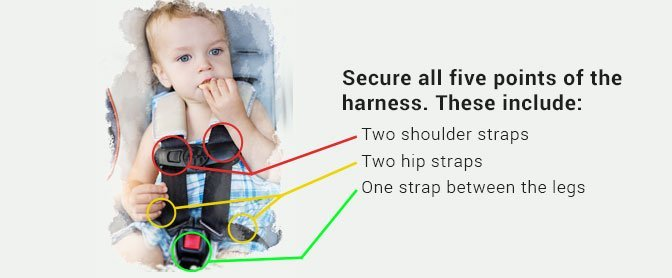 Secure all five points of the harness