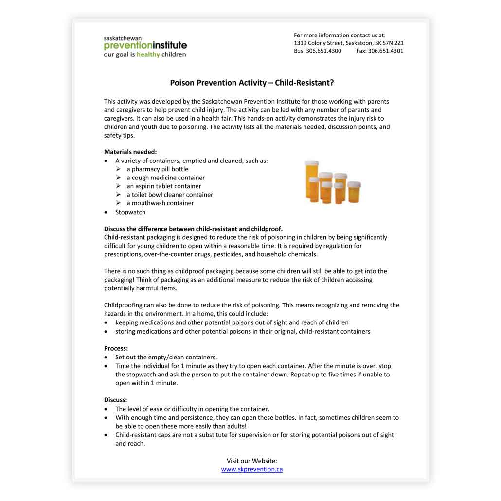 Poison Prevention Activity - Child-Resistant?