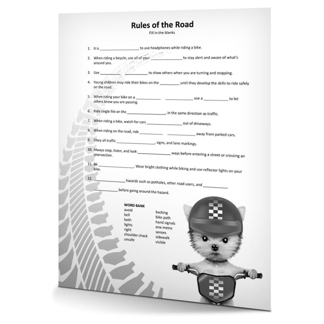 Rules of the Road Fill in the Blanks
