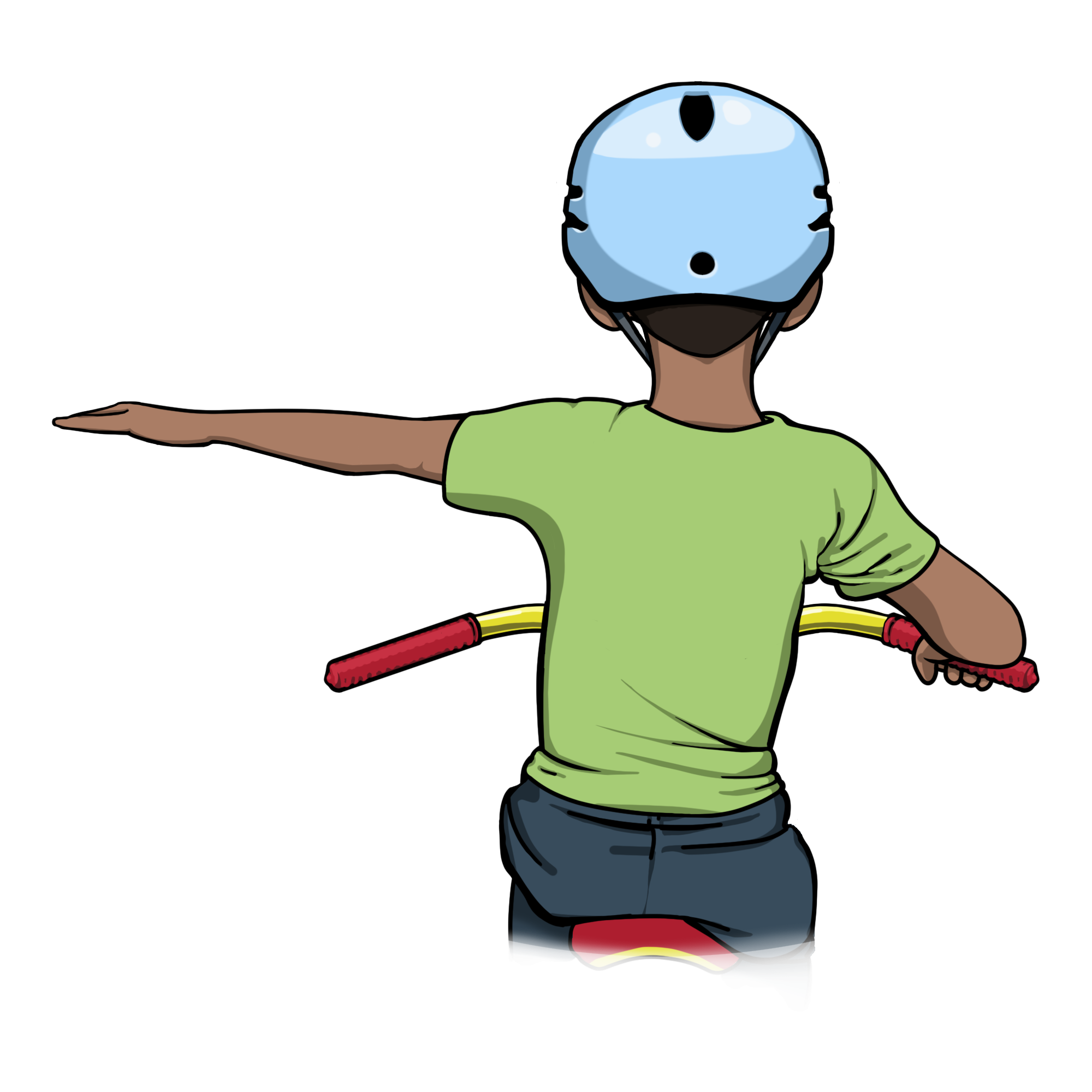 Left turn – Make a straight line with your left arm.