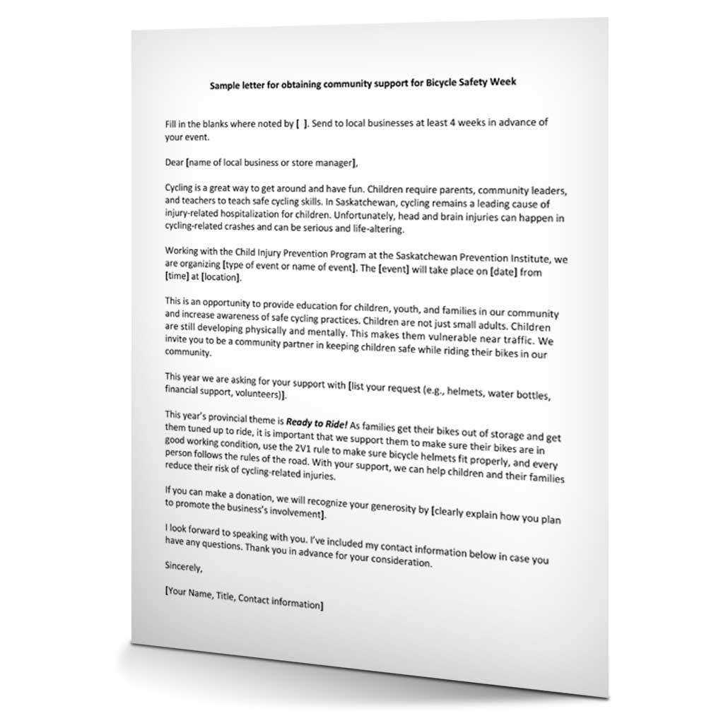 Sample letter for community support